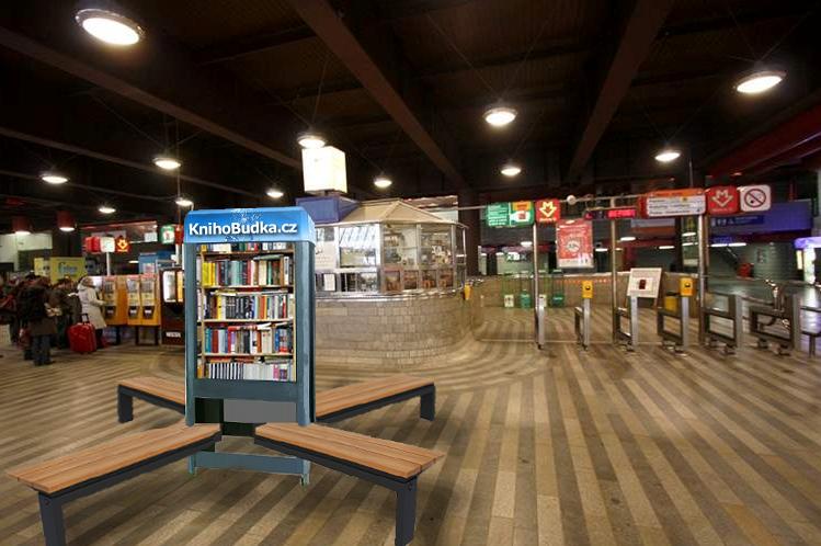 Vizuál knihobudky na Hlavním nádraží