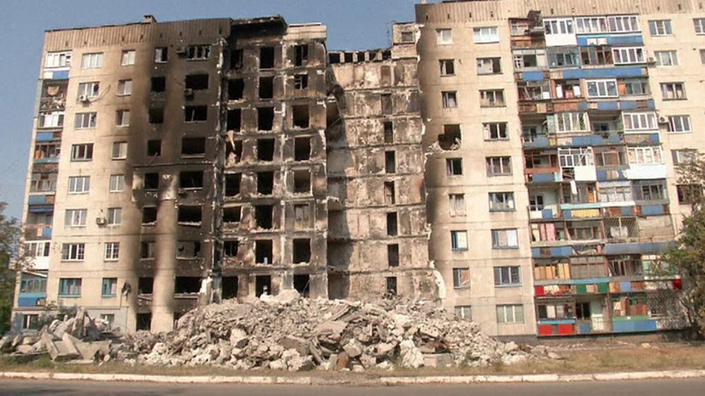 Zničený dům v Lysyčansku (Luhanská oblast)