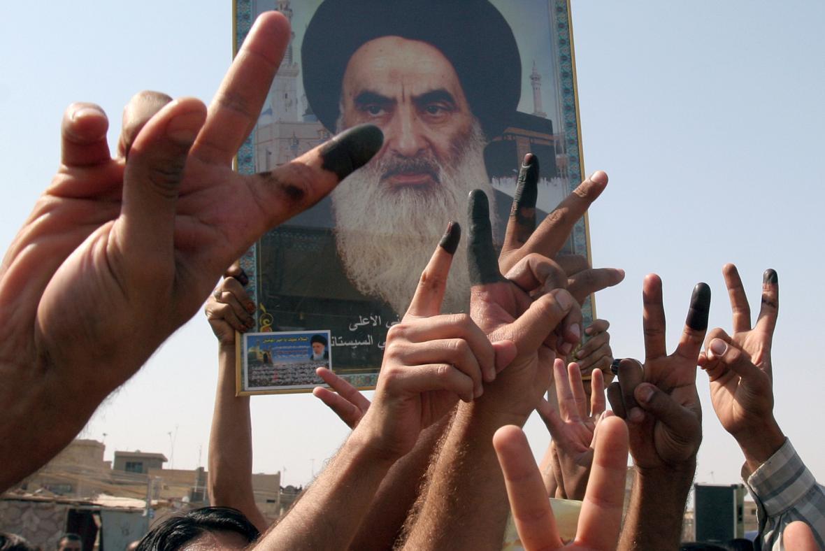 Portrét šíitského duchovního Alí Sistáního