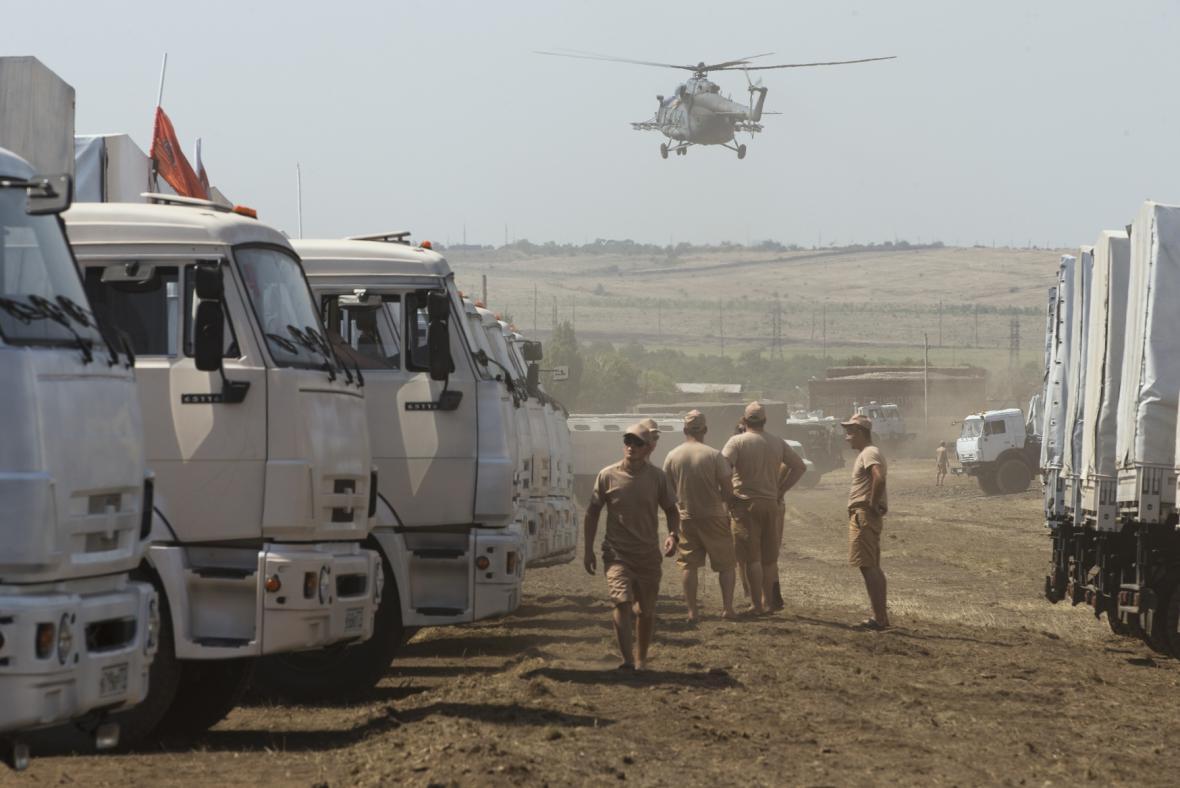 Konvoj s ruskou humanitární pomocí pro Ukrajinu