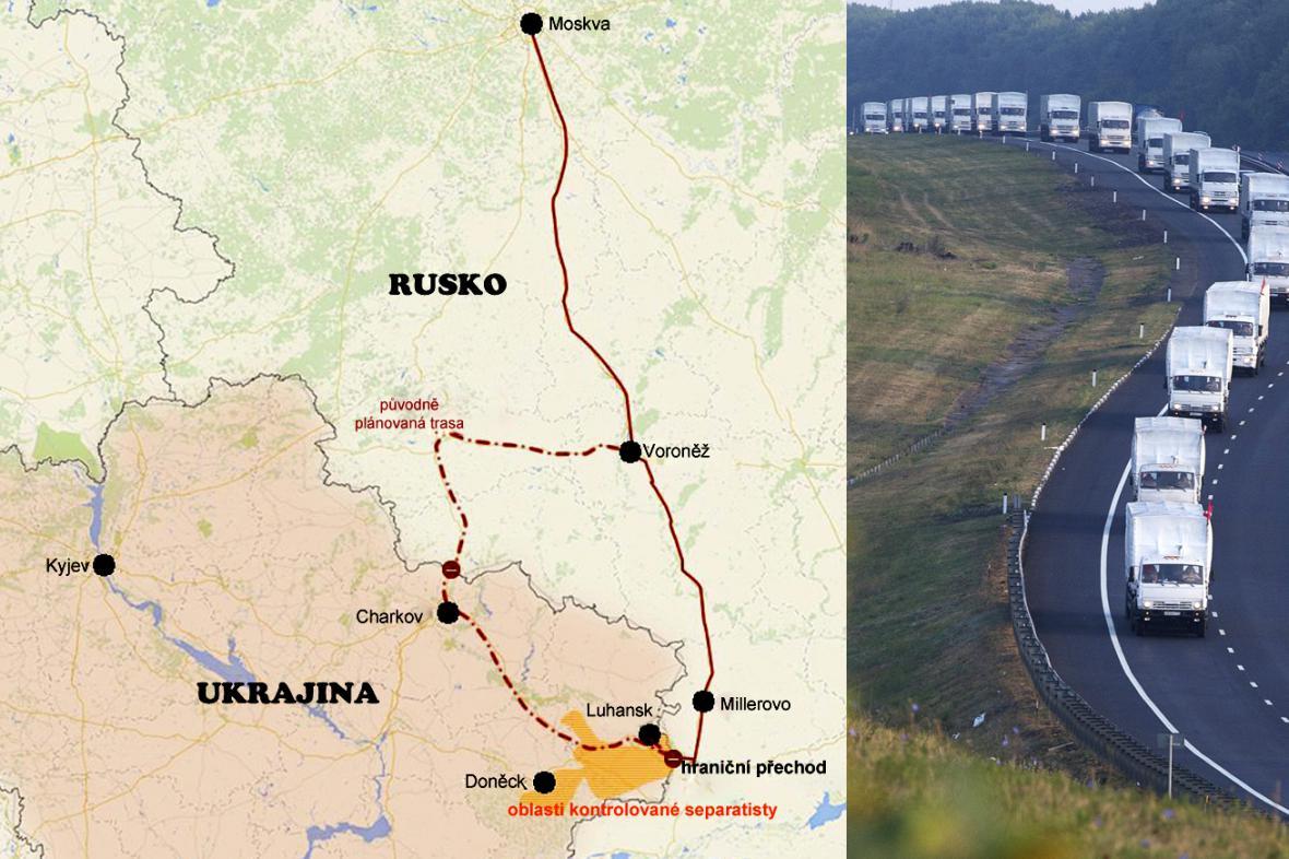 Trasa ruského konvoje na Ukrajinu