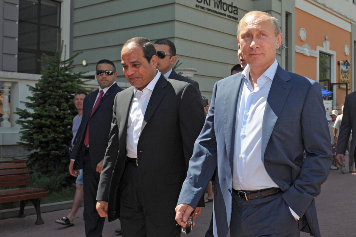 Abdal Fattáh Sísí a Vladimir Putin v Soči