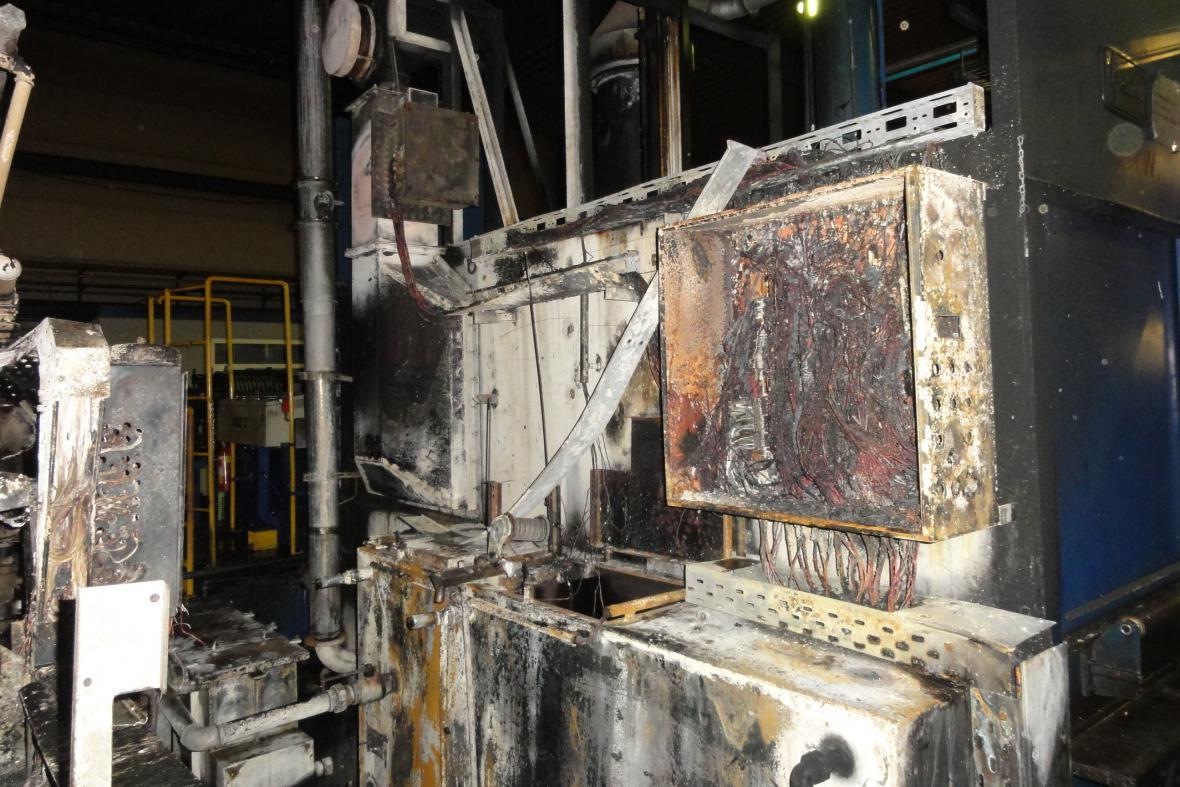 Požár průmyslové pece v Brně-Slatině