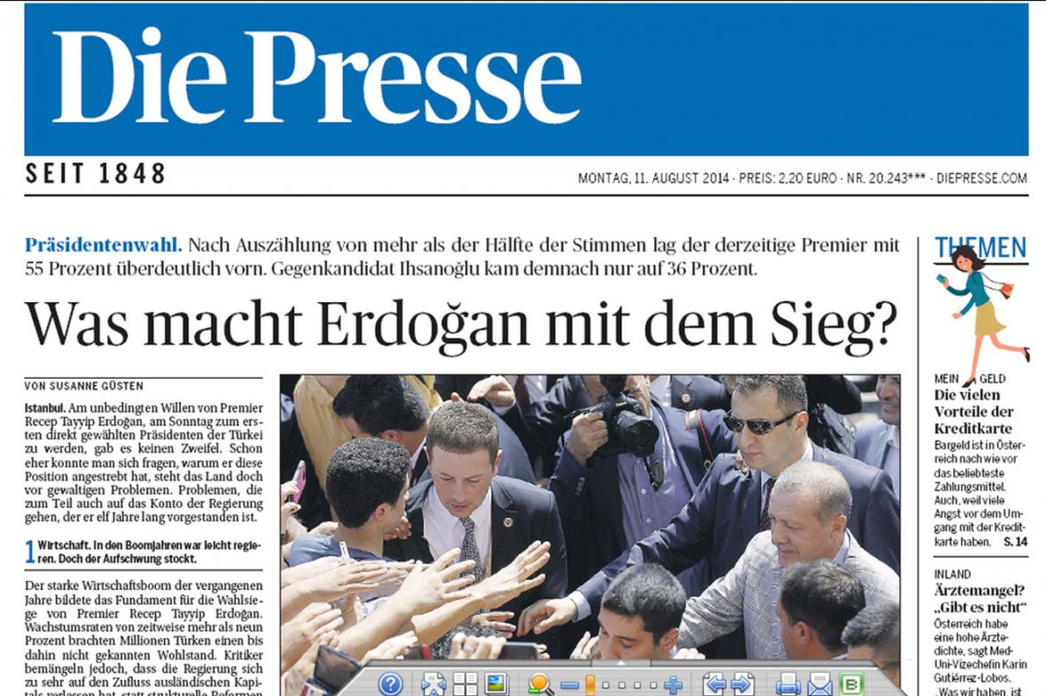 Die Presse k Erdoganovu vítězství