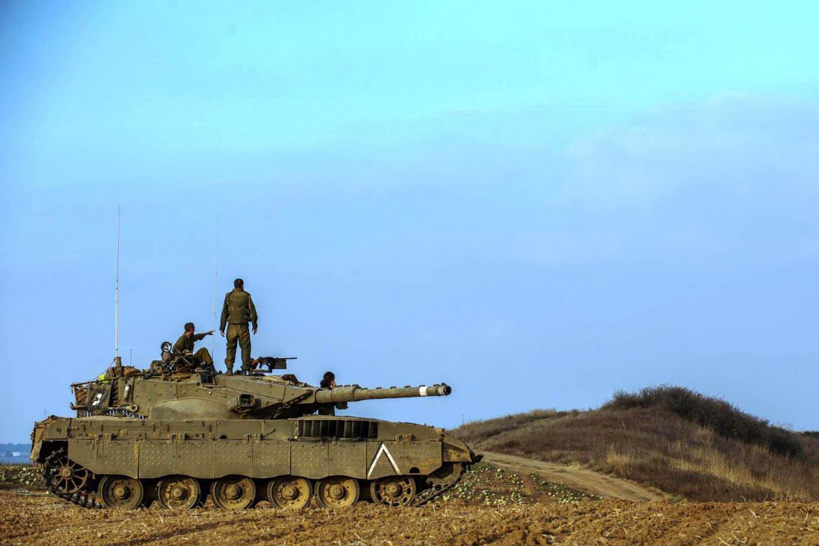 Izraelský tank v Pásmu Gazy