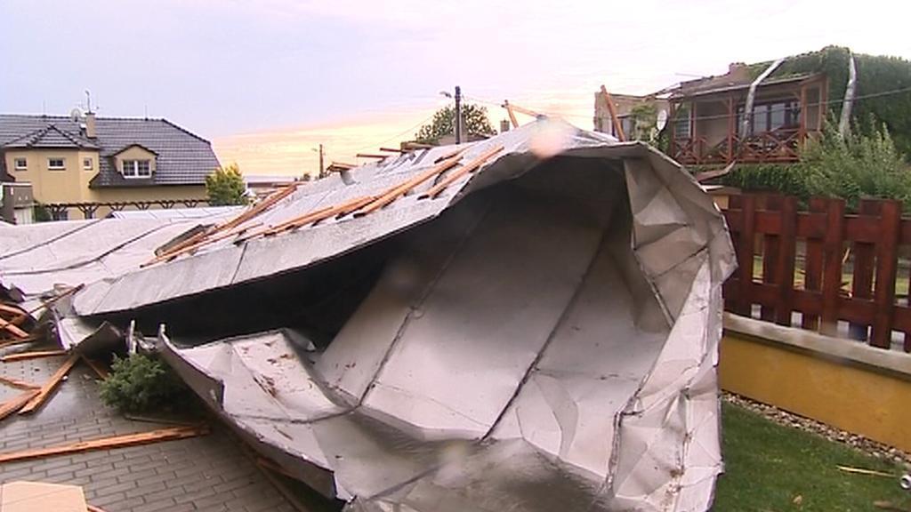 Následky prudkých bouřek ve Šternberku na Olomoucku