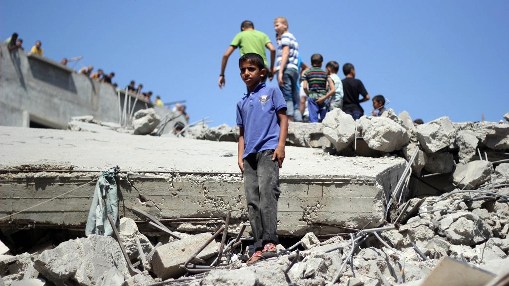Zbytky mešity po izraelském náletu