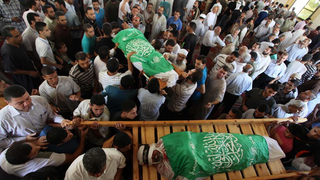 Těla mrtvých Palestinců