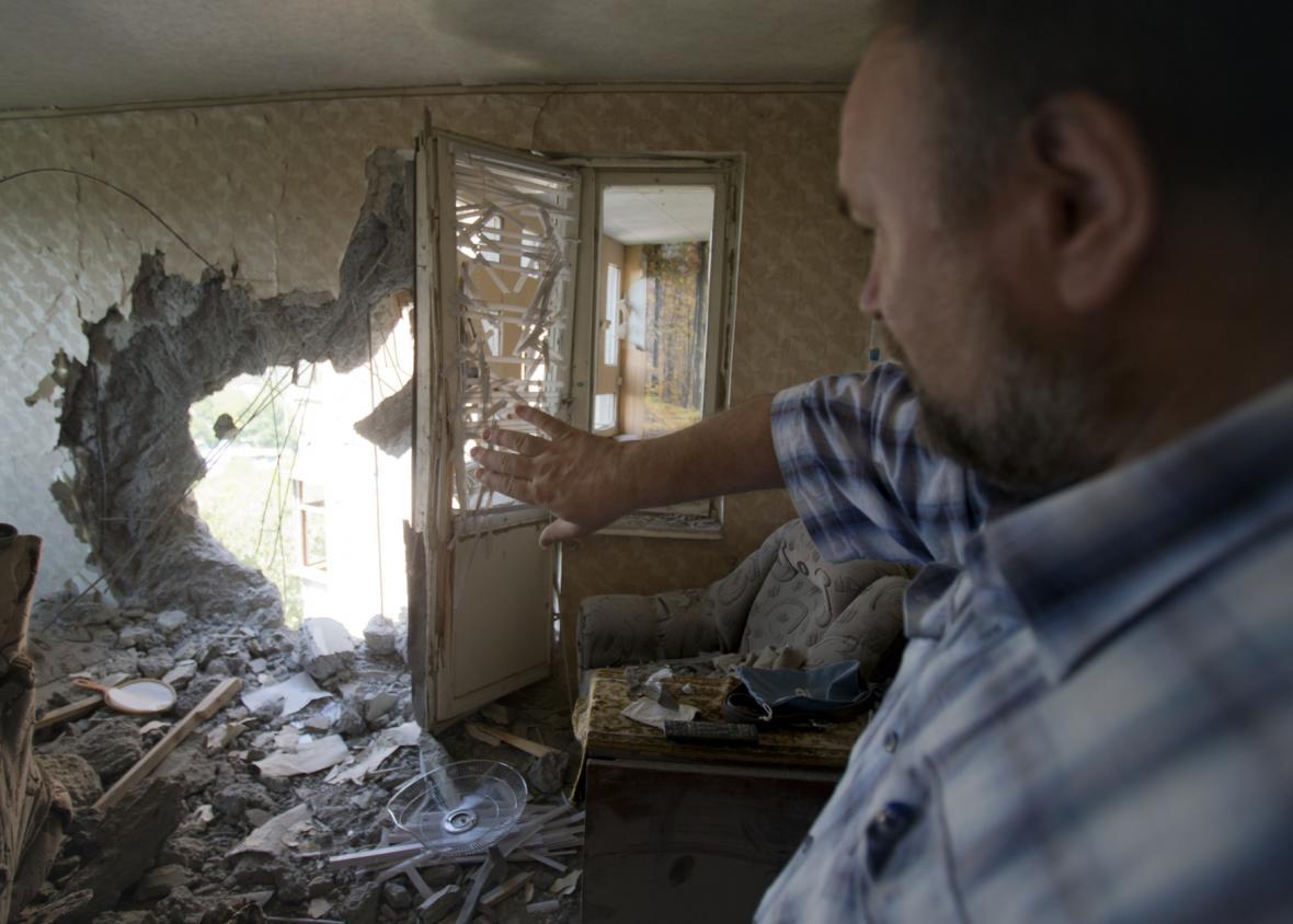 Doněck po bombardování