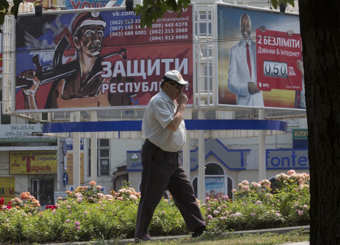 Verbující billboard proruských rebelů v Doněcku