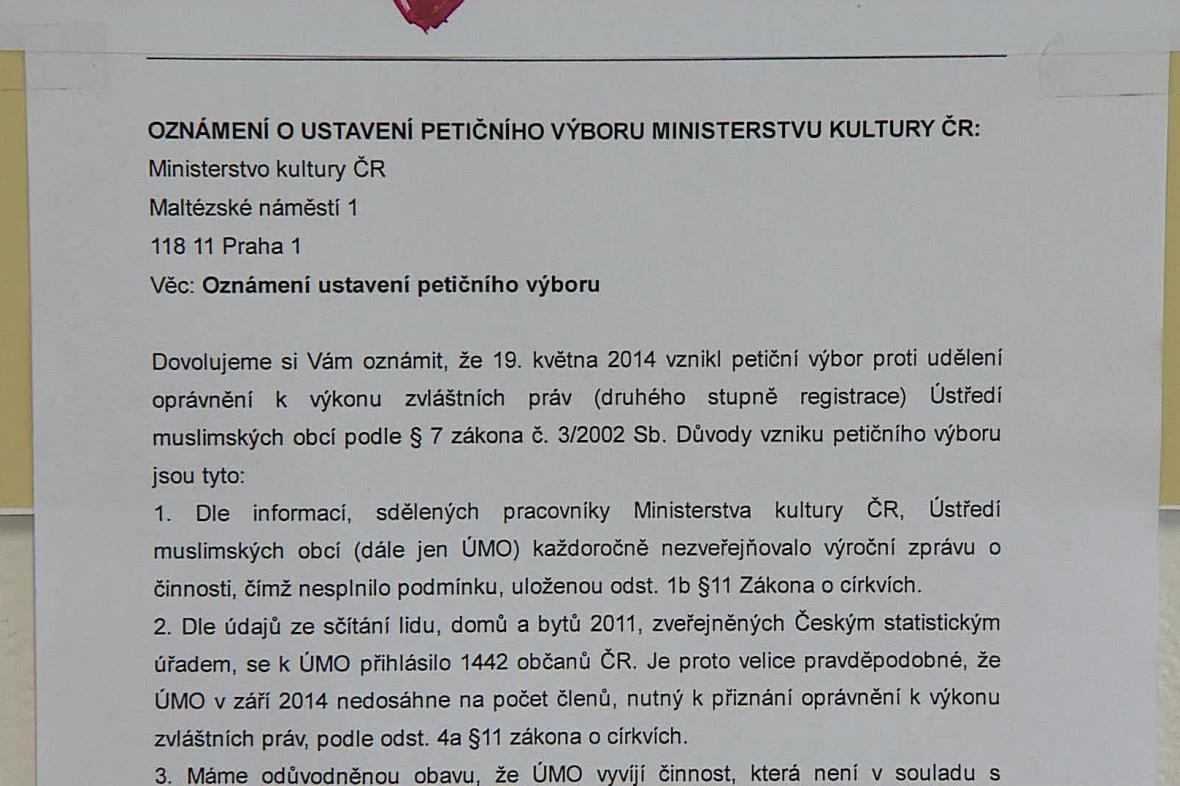 Text petice proti plnému uznání islámu v České republice
