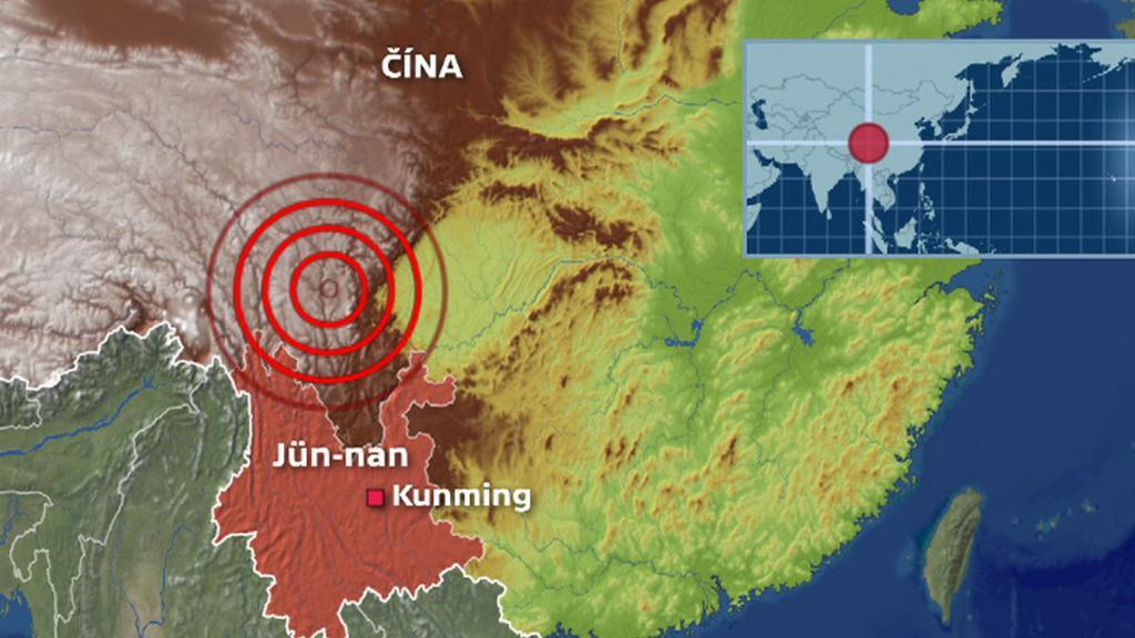 Místo zemětřesení v Číně