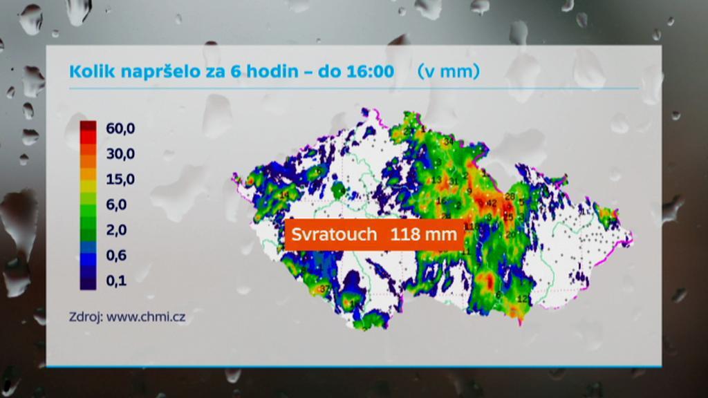 Srážky v neděli 3. srpna