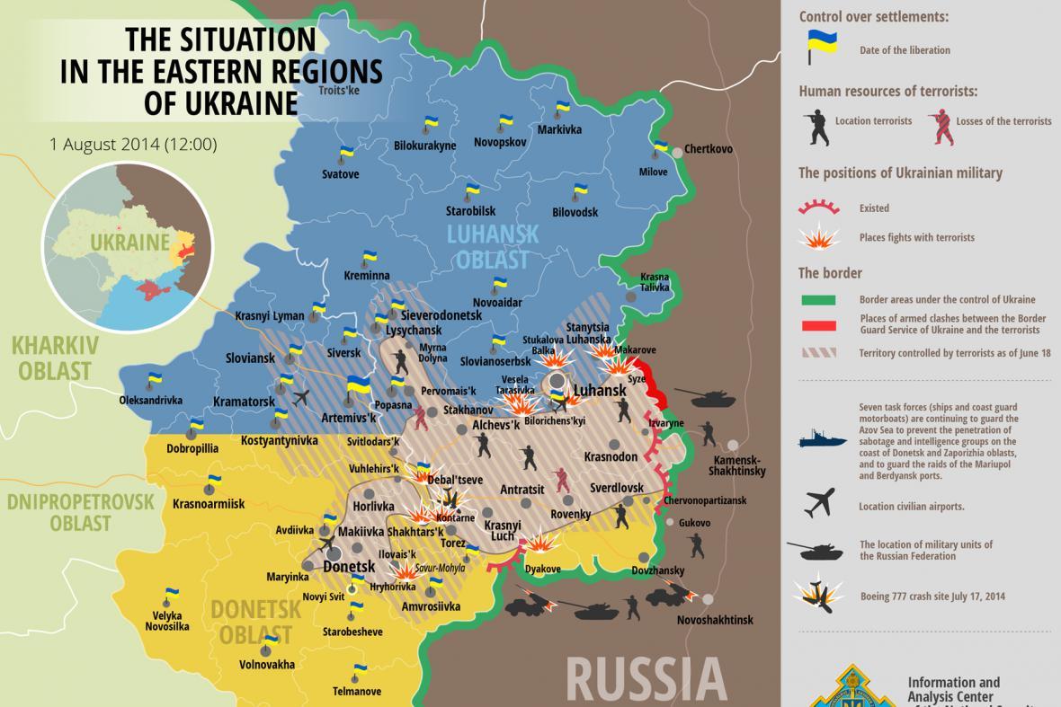 Situace ve východních regionech Ukrajiny - 1.8.2014