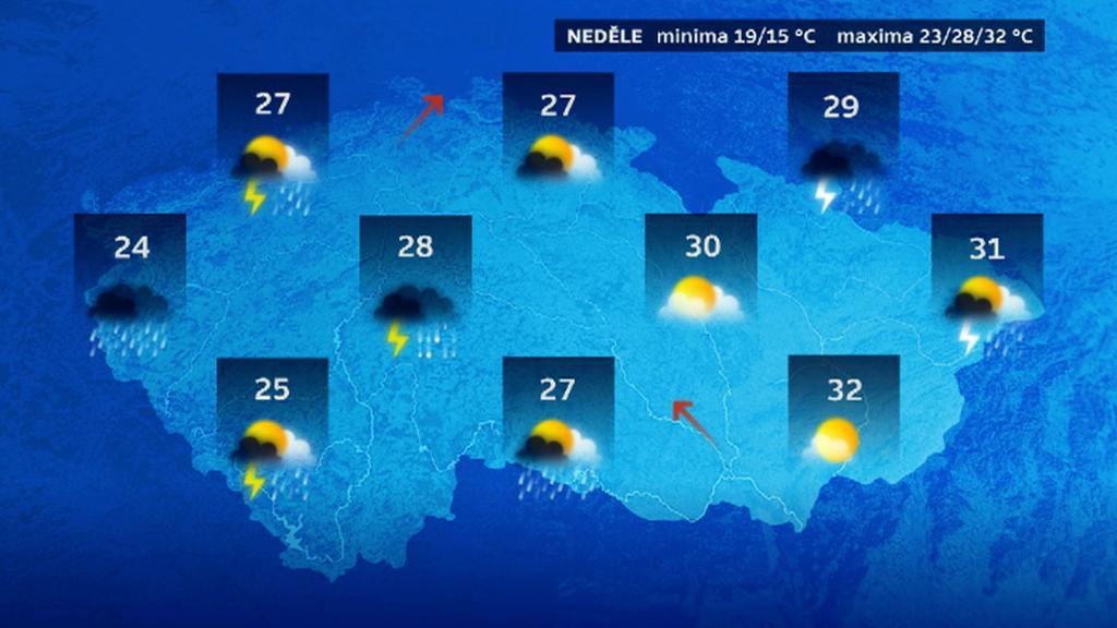 Předpověď počasí na neděli 3. srpna