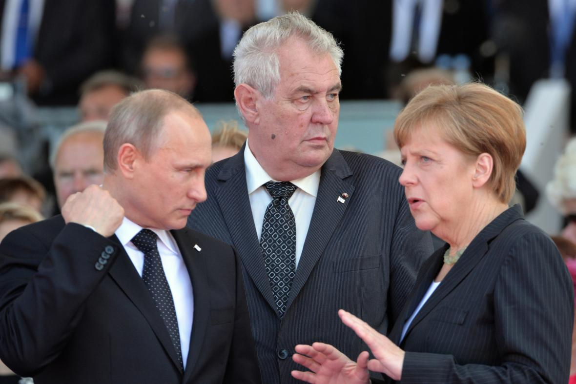 Vladimir Putin, Miloš Zeman a Angela Merkelová