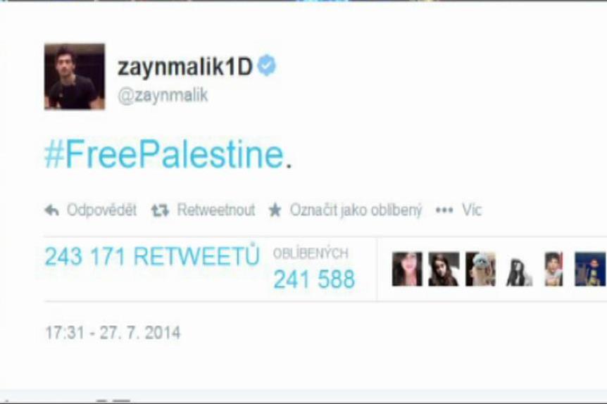 Zayn Malik z One Direction vyjádřil podporu Palestině