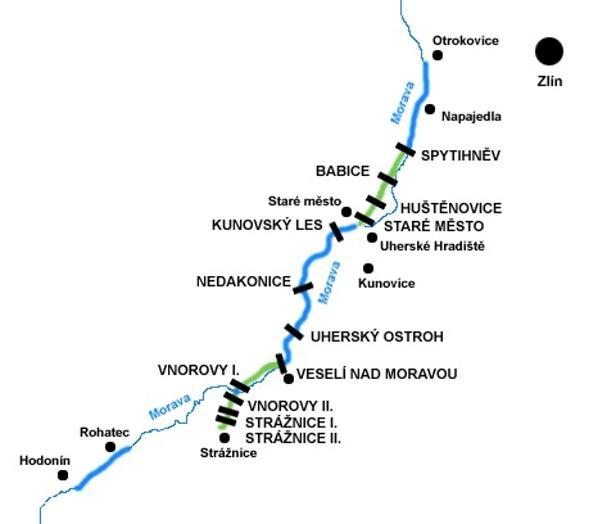 Mapa Baťova kanálu