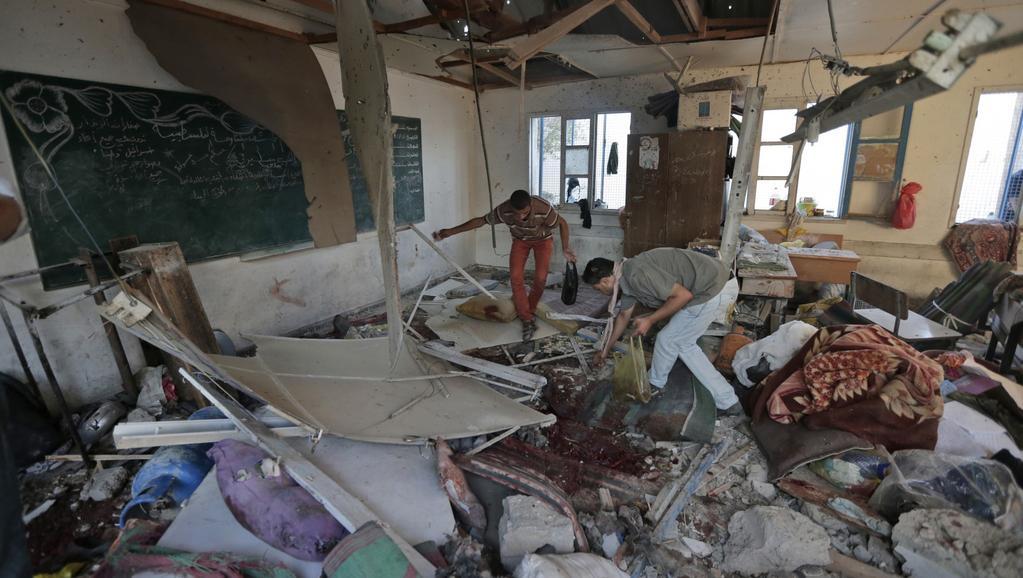 Jedna ze tříd školy v Džabalíje po náletu