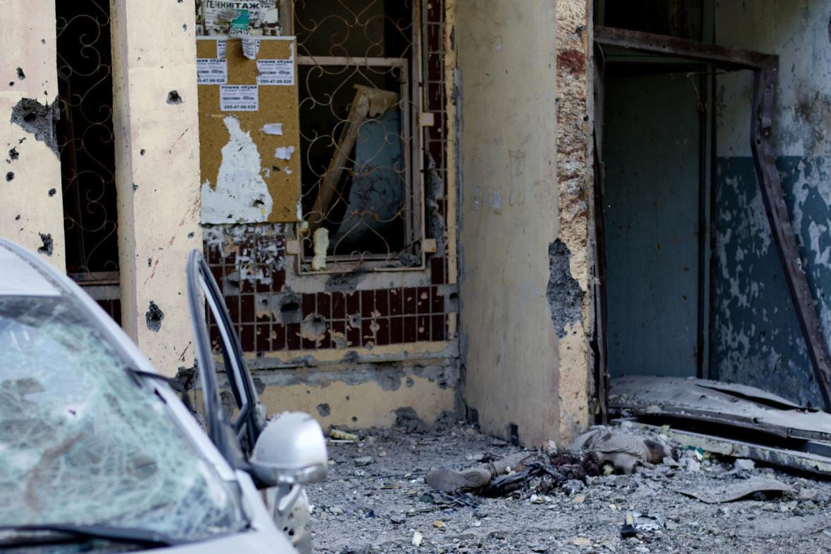 Boje na východě Ukrajiny v Doněcku