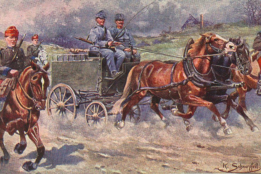 Pohlednice s kresbou poštovního polního balíkového vozu