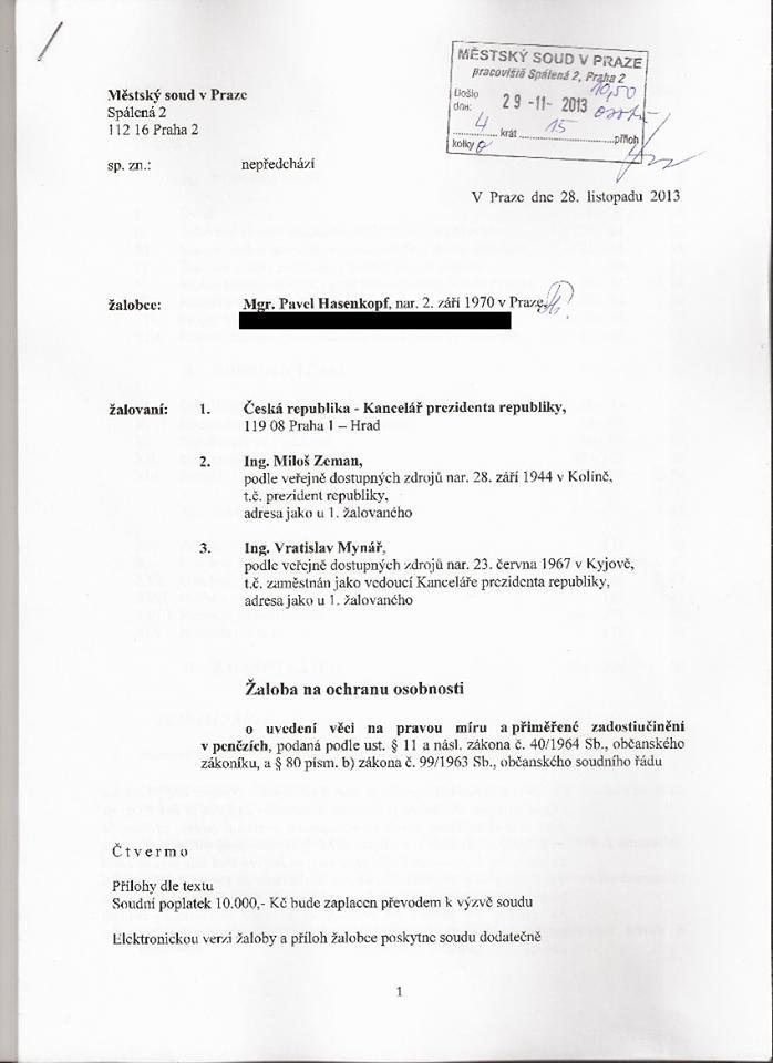 Žaloba Pavla Hasenkopfa