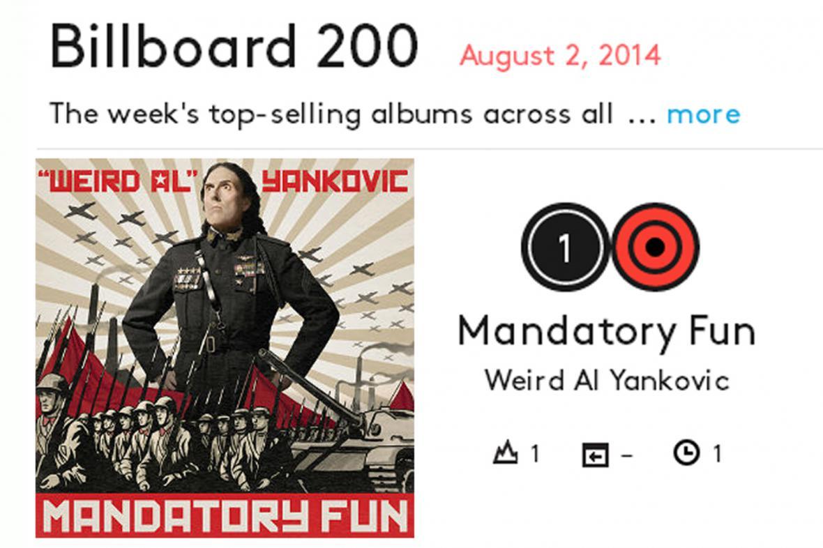 Album Mandatory Fun to dotáhlo na 1. místo žebříčku časopisu Billboard