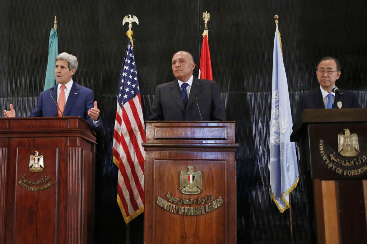 John Kerry, Samí Šukrí a Pan Ki-mun