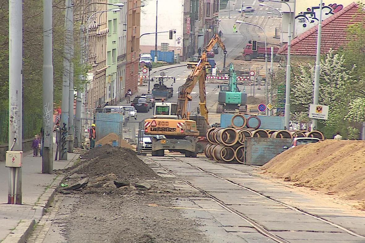 Stavební práce v ulici Milady Horákové