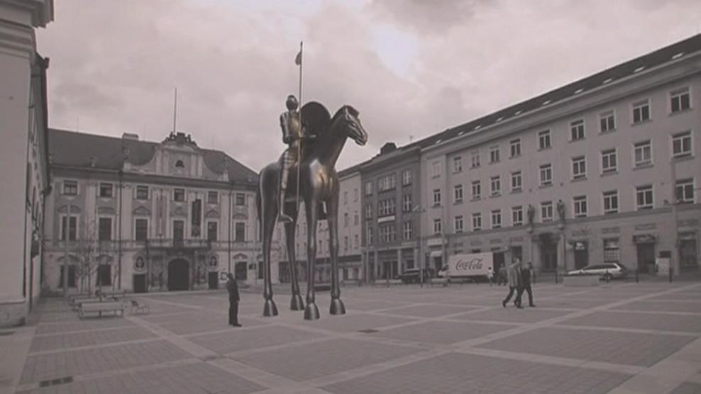 Vizualizace budoucího umístění sochy na Moravském náměstí