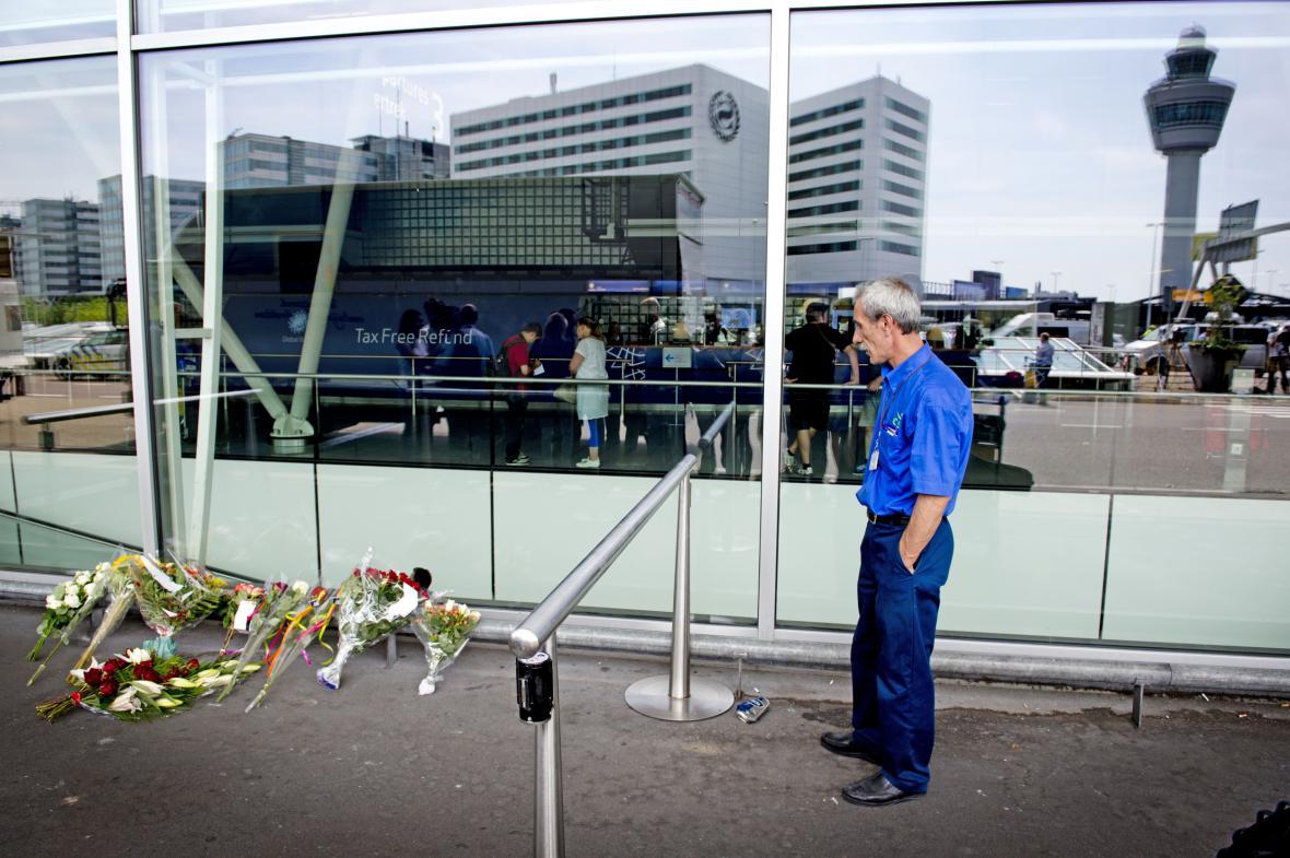 Květiny na letišti v Amsterodamu