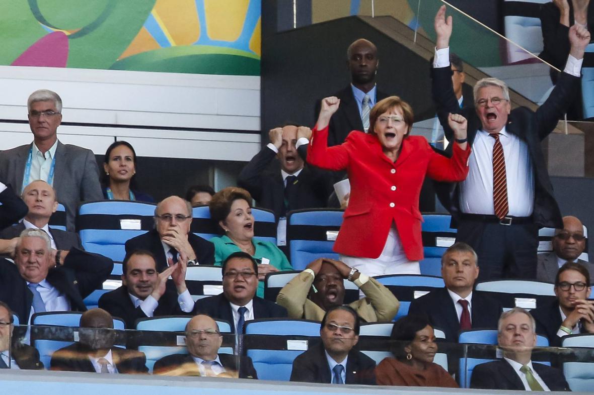 Angela Merkelová a Joachim Gauck na finále MS ve fotbale