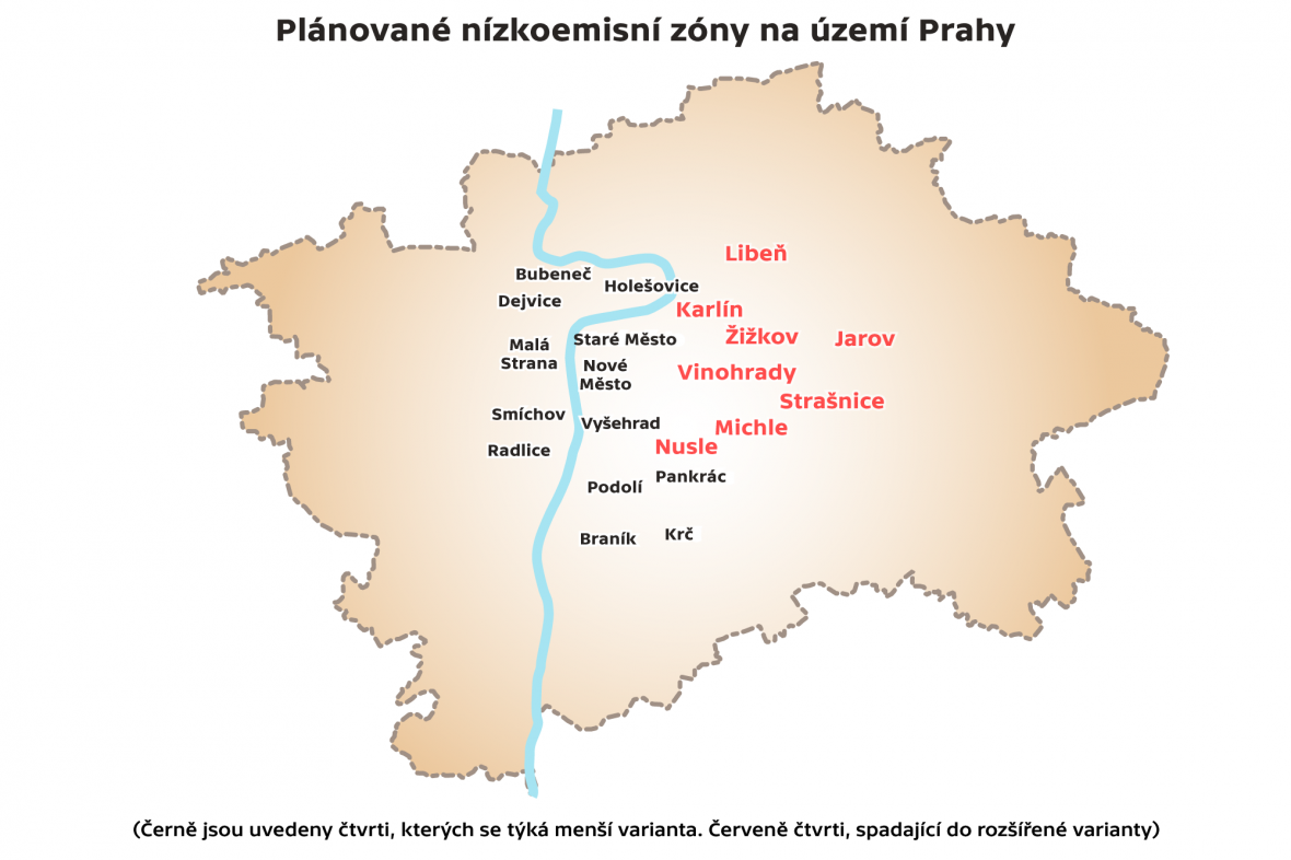 Plánované nízkoemisní zóny na území Prahy