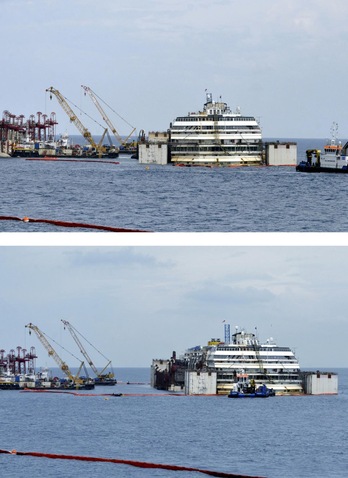 Costa Concordia se poprvé od havárie pohnula z místa