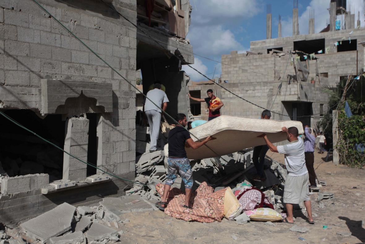 Následky útoků v Pásmu Gazy