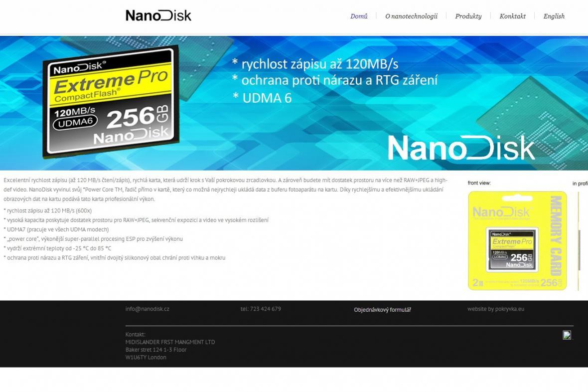Stránka s falešnými nanodisky