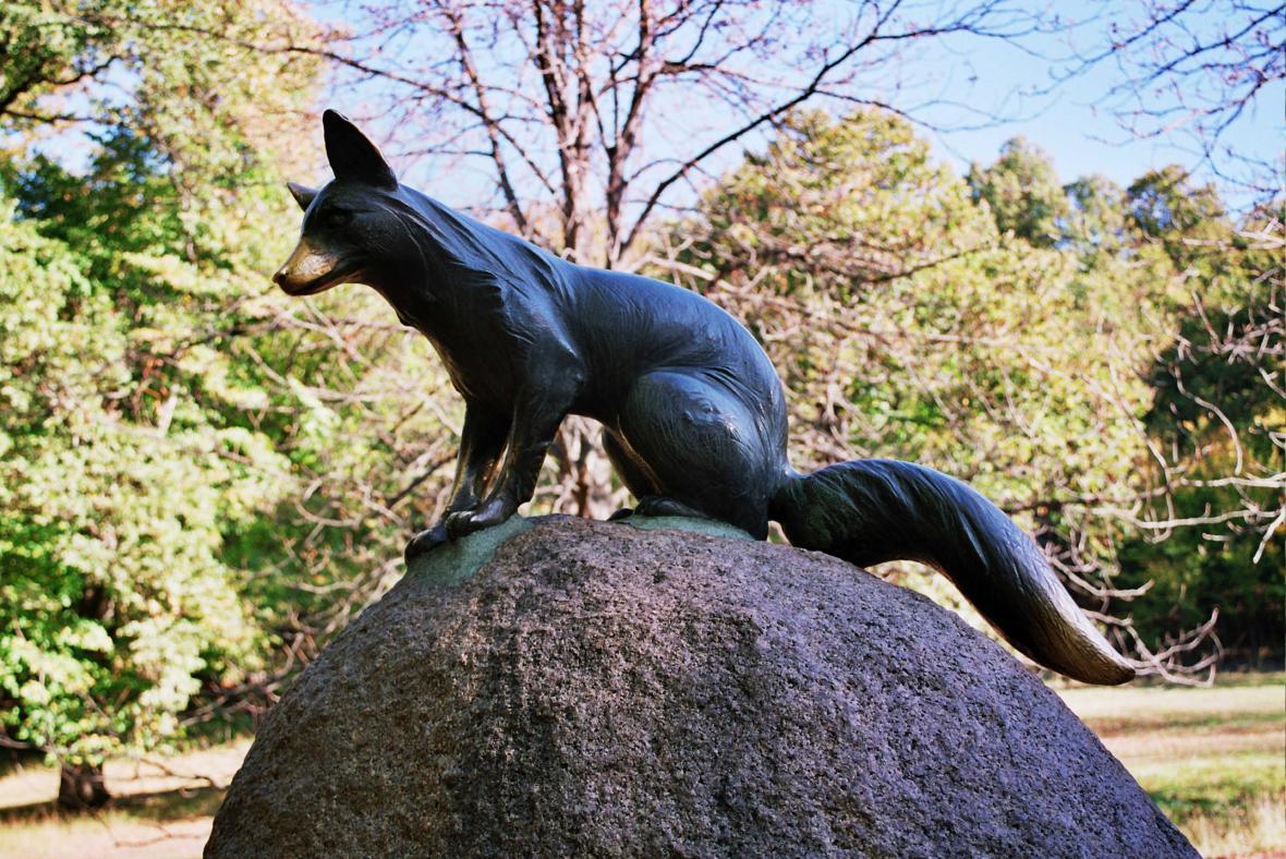 Pomník lišky Bystroušky v Hukvaldech