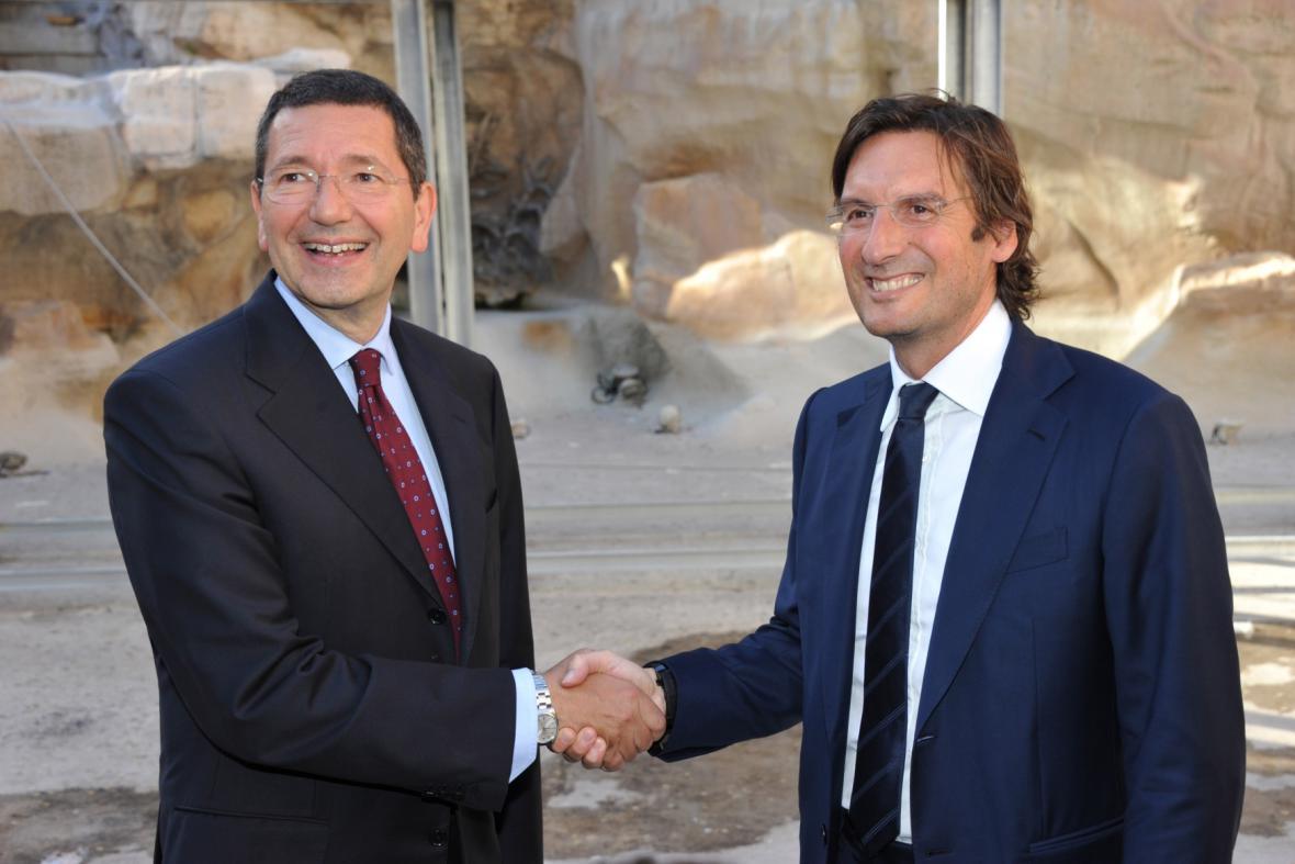 Ignazio Marino a Pietro Beccari při zahájení rekonstrukce