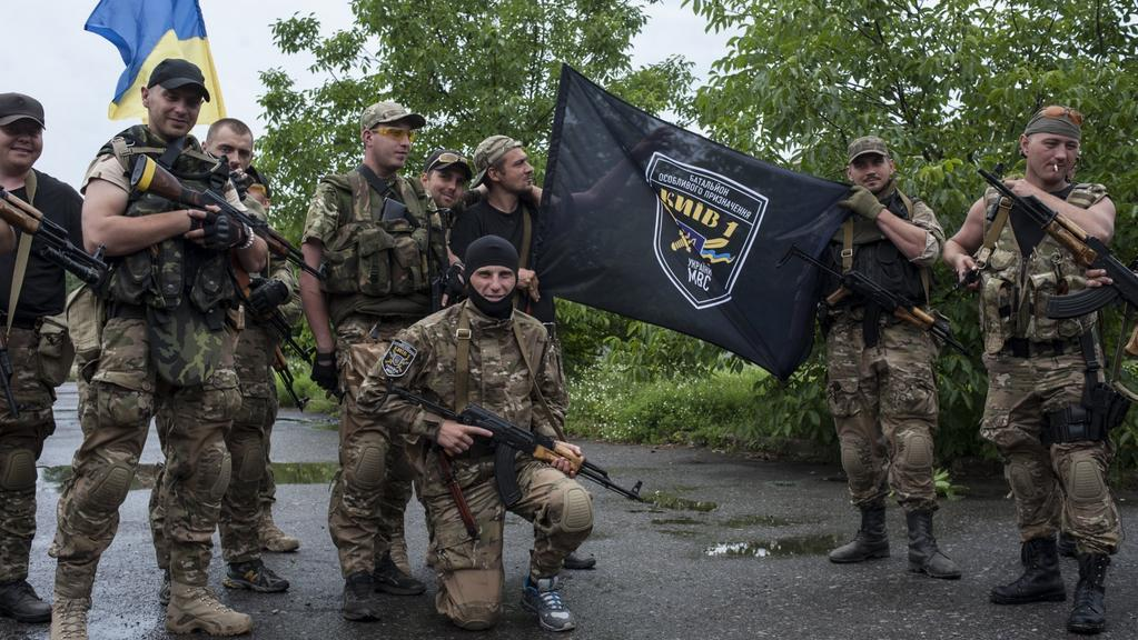Ukrajinští vojáci po dobytí Slavjansku