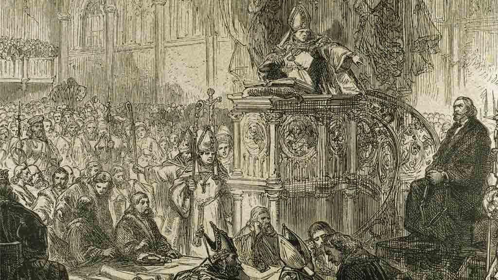 Rytina Mistr Jan Hus před koncilem kostnickým