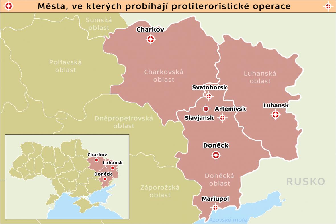 Města, ve kterých probíhají protiteroristické operace
