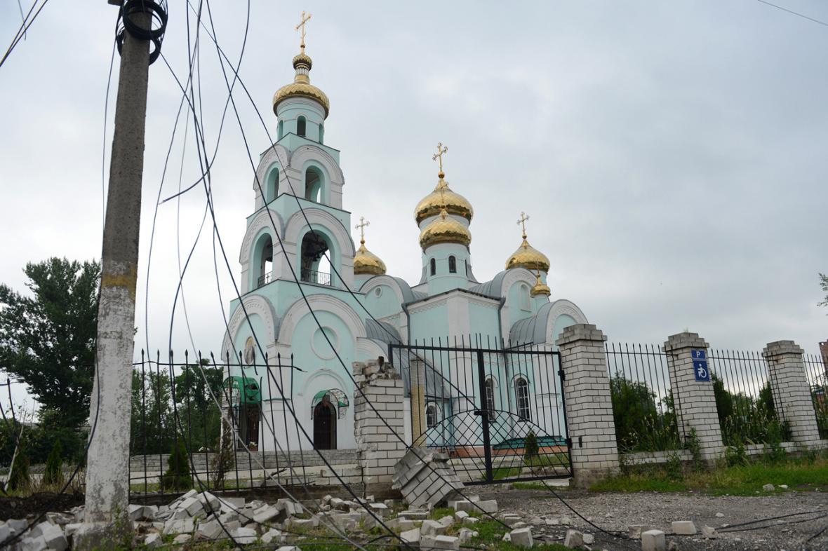 Následky bojů ve Slavjansku