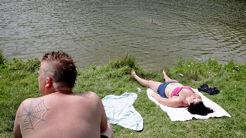 Koupání u rybníka