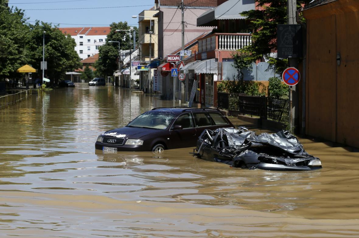 Záplavy v srbském městě Obrenovac