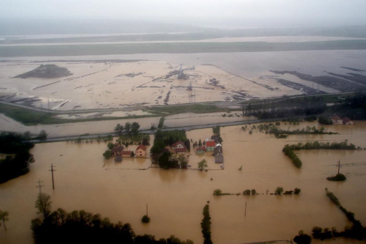 Zaplavené srbské město Obrenovać