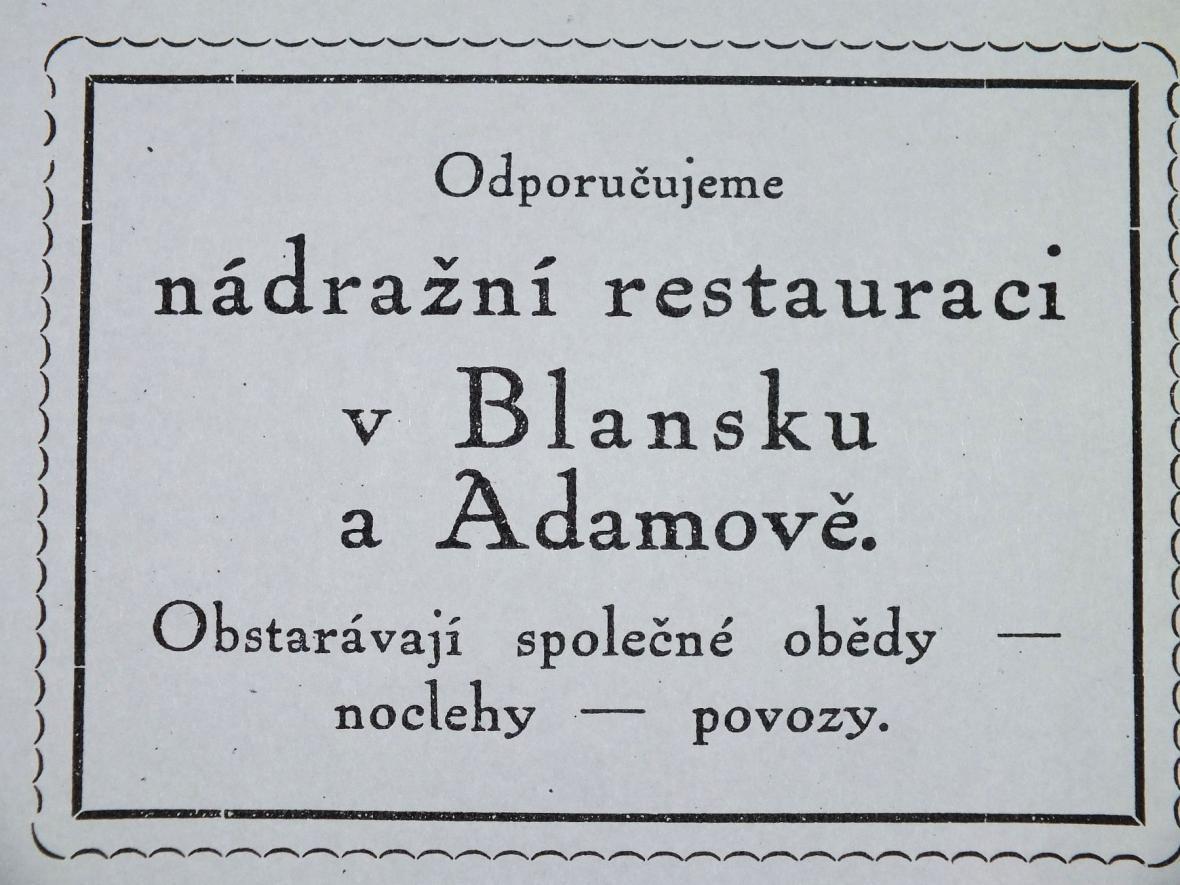 Z přednášky o hostinských zařízeních v Moravském krasu