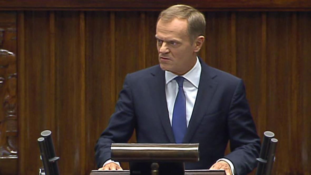 Polský premiér Donald Tusk během vystoupení v Sejmu