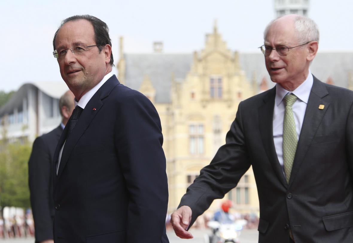 Francois Hollande a Herman van Rompuy