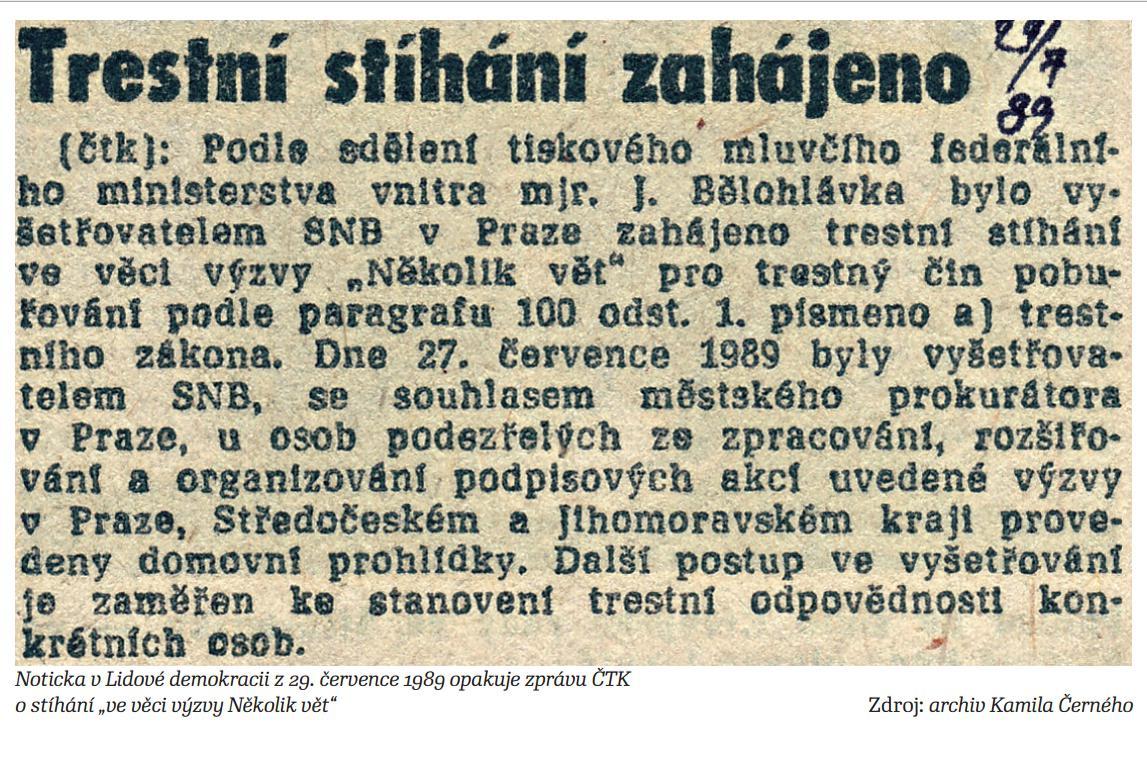 Režim stíhá organizátory petice Několik vět za pobuřování (1989)