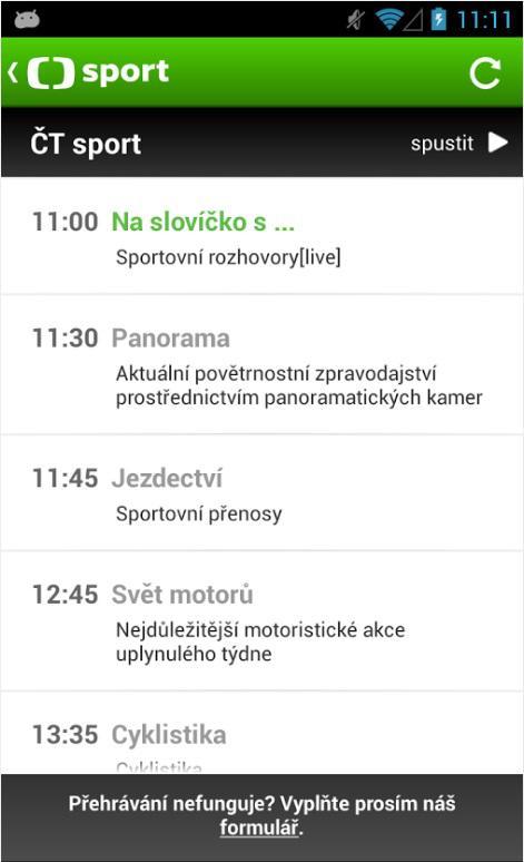 Mobilní aplikace ČT sport